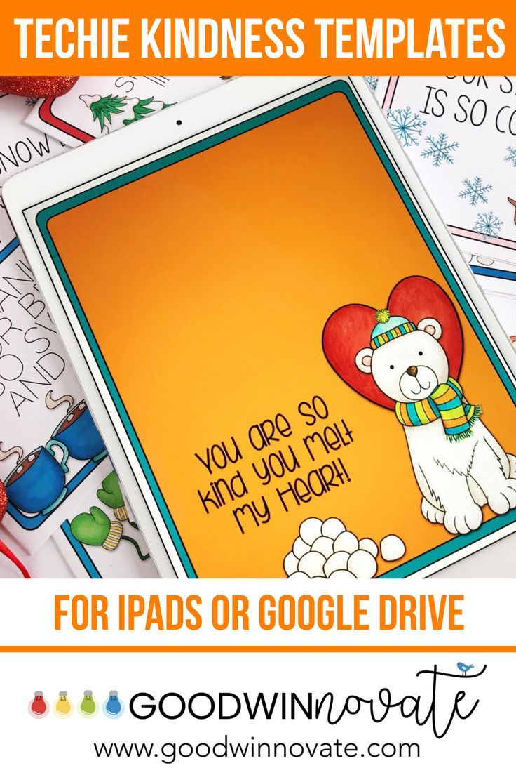 Techie Kindness Card Templates Winter Themed Winter Theme Card Templates 3rd Grade Classroom
