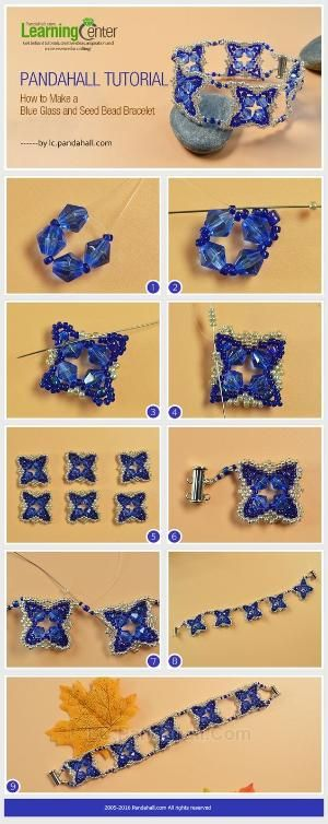 Pandahall Tutorial on How to Make a Blue Glass and Seed Bead Bracelet from LC.Pandahall.com   Jewelry Making Tutorials & Tips 2   Pinterest by Jersica