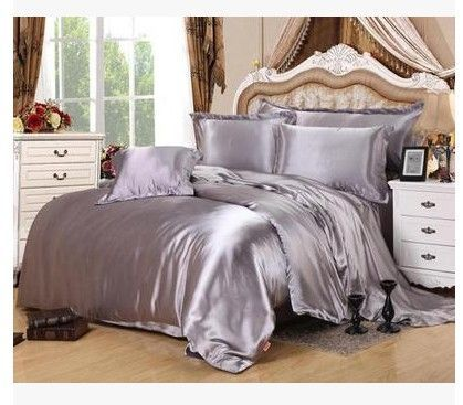 Silver Bedding sets California King size Queen full grey duvet cover fitted silk satin sheet bed in a bag double bedspreads 5pcs #DoubleBedSheets