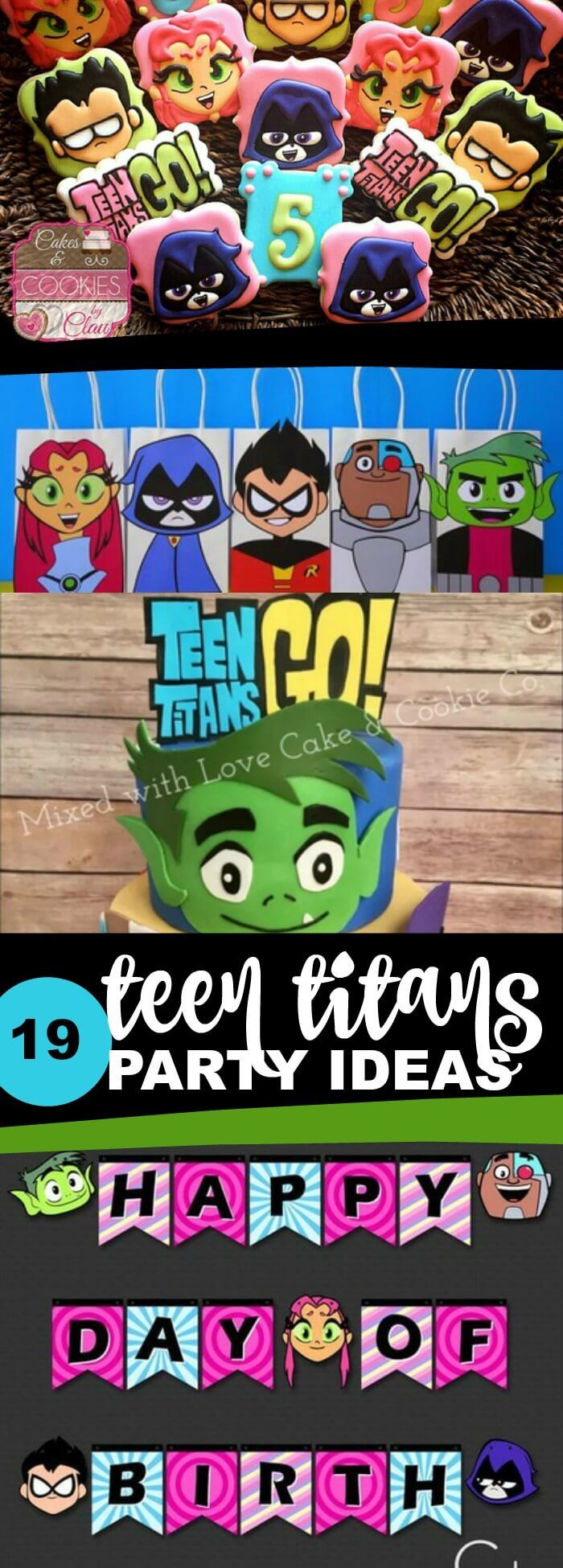 Teen Titans Go birthday party ideas, food, games, activities, favors, crafts, invitations and more via @spaceshipslb