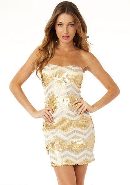 Gold/Nude zig zag sequin tube top dress. | Imaginary closet ...