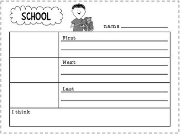 Back to School Writing About School. Back to school themed personal narrative writing printables and school words poster. Free download.
