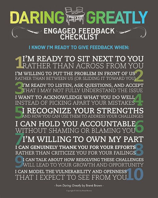 Engaged Feedback Manifesto - From Daring Greatly by Brene Brown.  www.CareerFlexibility.Rocks