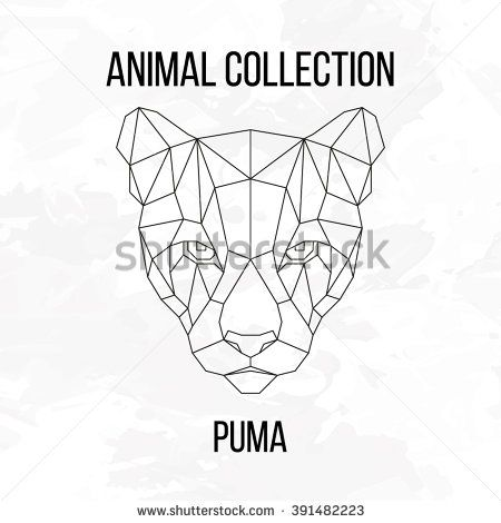 Geometric animal puma head line silhouette isolated on white background vintage design element vector illustration