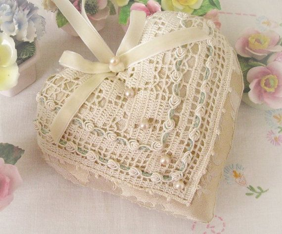 Heart Pillow 6 X 6 Door Hanger, Neutral/Ivory Damask, Decor, Fancy Trim, Cloth Handmade CharlotteStyle Decorative Folk Art