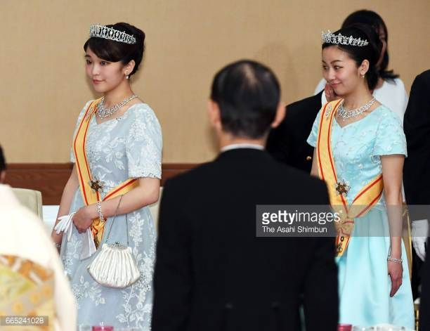 Princess Mako and Princess Kako of Akishino attend the state dinner for King Felipe VI and Queen Letizia of Spain at the Imperial Palace on April 5...