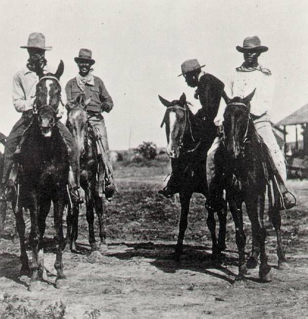 African American cowboys that you won't find in Hollywood's old Western movies, except maybe as slaves or comics. You won't find them in history books either.