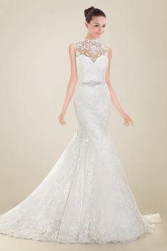 Wedding Dress Mermaid High Neckline Chapel Train with Back Bowtie