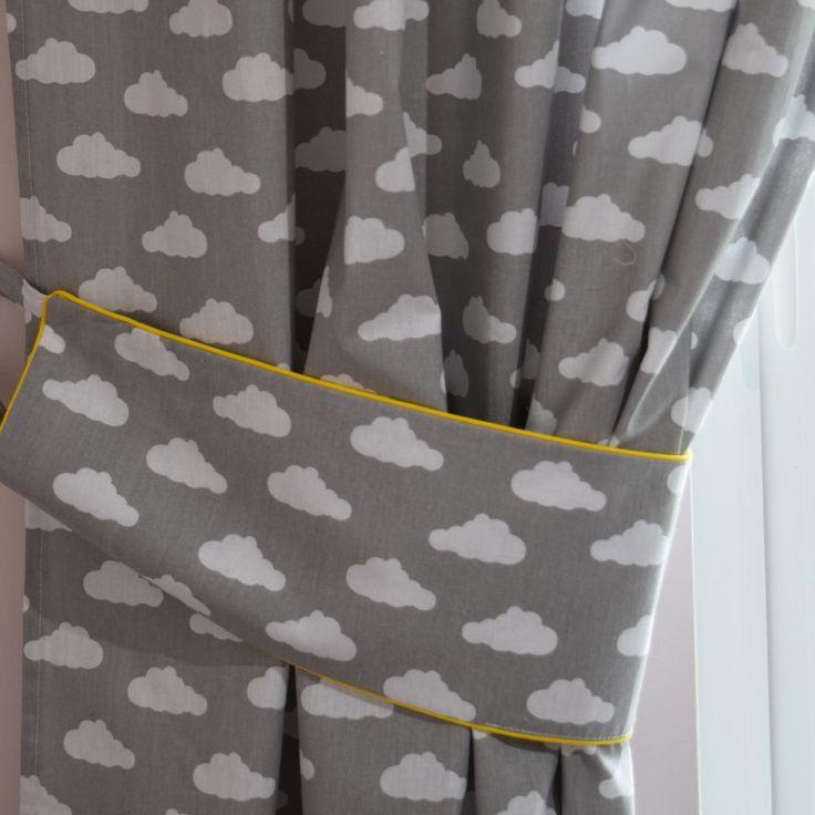 GREY CLOUDS Curtains  Nursery Baby Room TAB TOP CURTAINS TIEBACKS 150 x150 CM