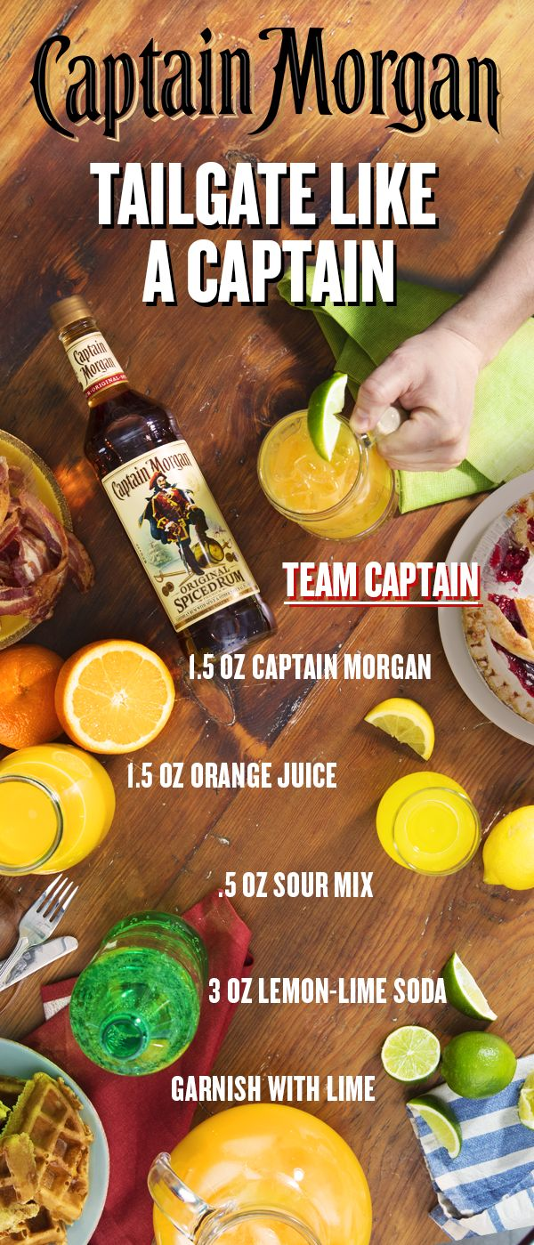 Early games mean early starts. Break out the bagels and waffles, but don't forget the star of team in Captain Morgan Original Spiced Rum. Fix you and your crew a cocktail that tastes delicious pregame, halftime, or celebrating the victory with the Team Captain. Combine 1.5 oz Captain Morgan Original Spiced Rum, 1.5 oz orange juice, 0.5 oz sour mix, and 3 oz lemon lime soda in an ice filled glass. Stir to combine, garnish with a lime wedge, and get back to tailgating like a Captain.