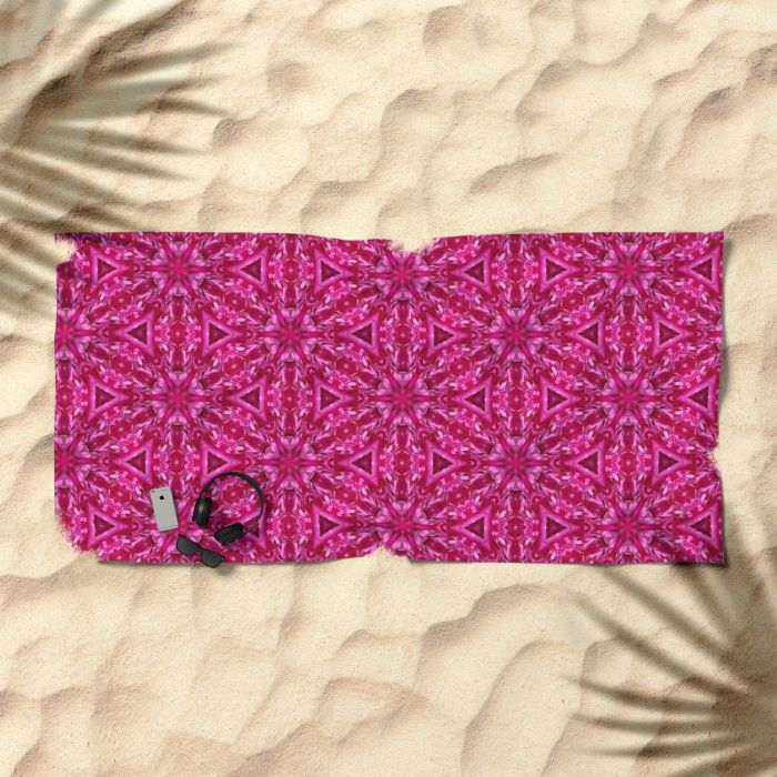 A beautiful hot pink cabbage rose photo transformed into floating shades of pink triangles beach towel