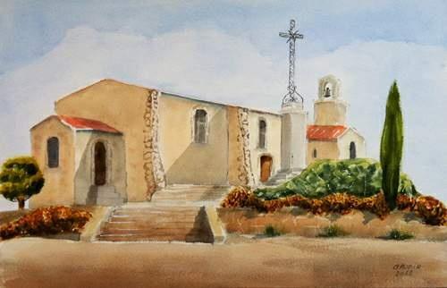 """© Gaudir13 """"Martigues - Notre-Dame des Marins"""" Aquarelle 54 x 35 cm"""