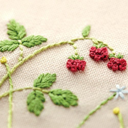 Japanese Embroidery Kit Beginner, Kazuko Aoki, Embroidery DIY Kit, Easy Stitch Tutorial, Berry Tea Mat, Hand Embroidery Design, EK001