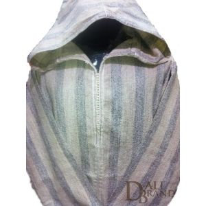 """This light Jellaba includes simplicity and oriental """"class"""" with its colors and design.The fabric is especially made of traditional white and grey stripes which give elegance and brightness to the cloth."""
