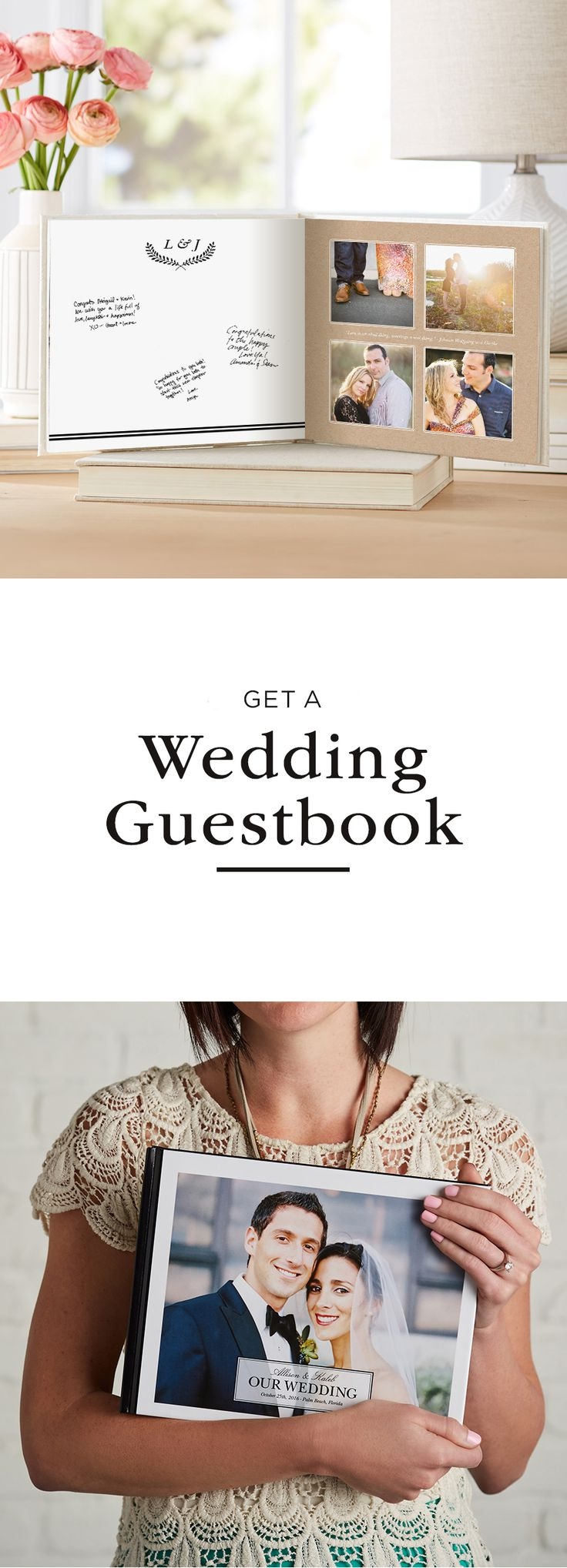 Shutterfly wants to help celebrate your wedding! Sign up to receive a wedding guest book to showcase your engagement photos with a variety of wedding guestbook ideas.
