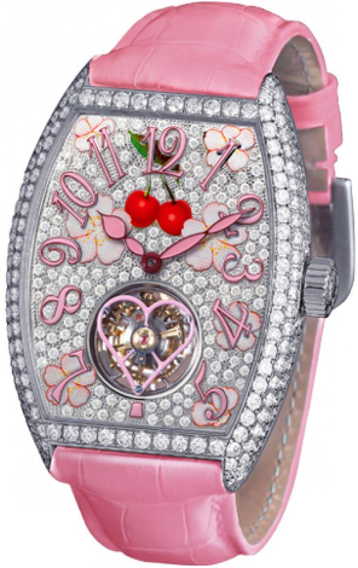 Franck Muller 3080 T D CD Cintree Curvex Sakura - швейцарские женские часы- наручные, золотые с бриллиантами, белые, розовые