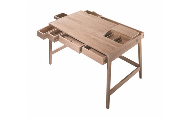 Writing desk by Wewood  Wouldn't this be a great kitchen table, store silverware and napkins in the drawers, easy for kids to set the table.