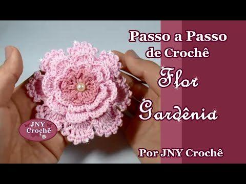 Passo a Passo de Crochê Colar Flor Gardênia por JNY Crochê - YouTube