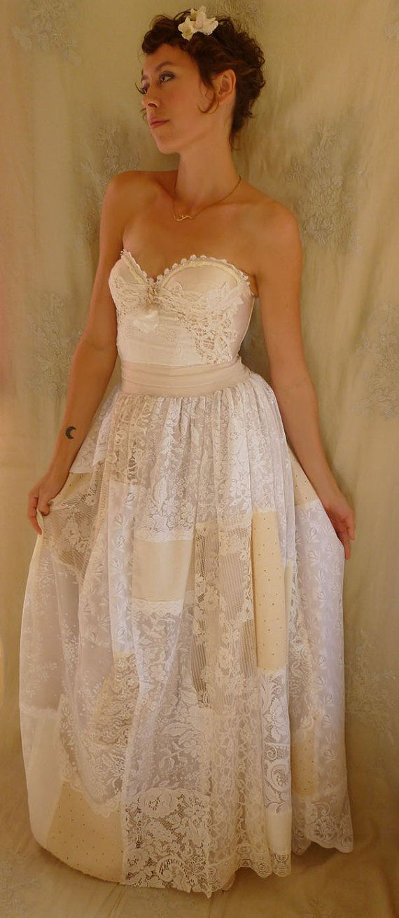 Prairie Bustier Wedding Gown... Size Medium... alternative dress woodland corset boho whimsical patchwork lace free people eco friendly