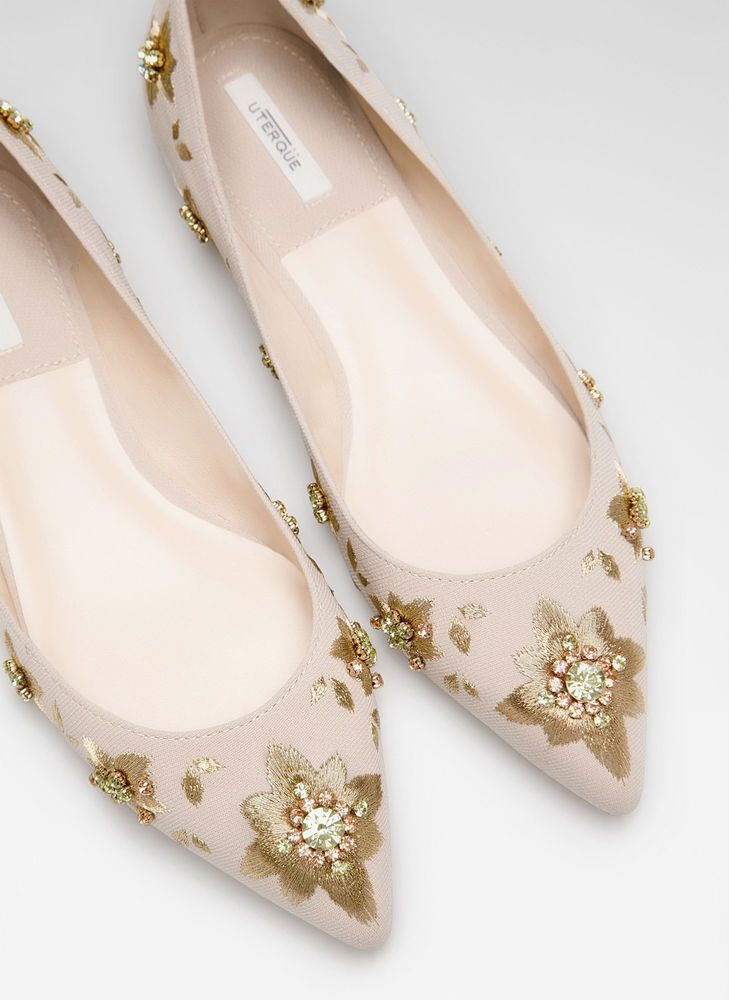 UTERQUE (ZARA COMPANY) - EMBROIDERED BALLERINAS - NEW SEASON 2014 #UTERQUE #BALLERINAS