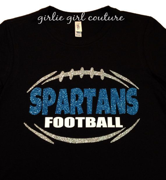 Custom Glitter Football Team T-Shirt by GirlieGirlCouture on Etsy