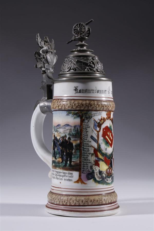 ANTIQUE GERMAN PORCELAIN LITHOPHANE AND METAL BEER STEIN