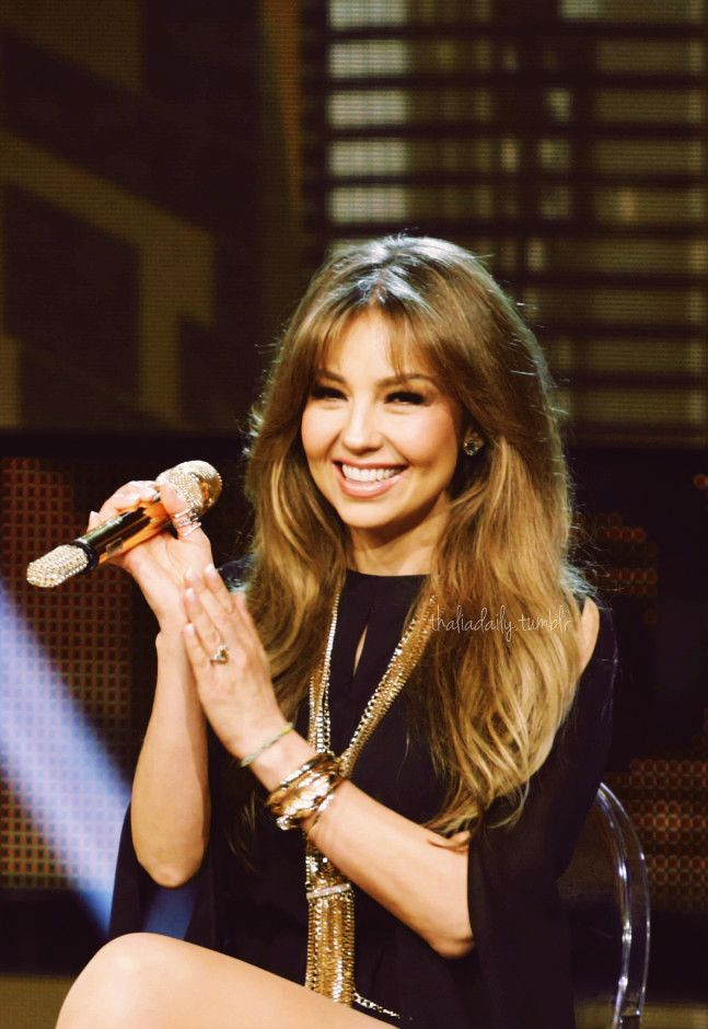 Thalia is seen on stage during 'Nuestra Belleza Latina' at Univision Studios on May 8, 2016 in Miami, Florida.
