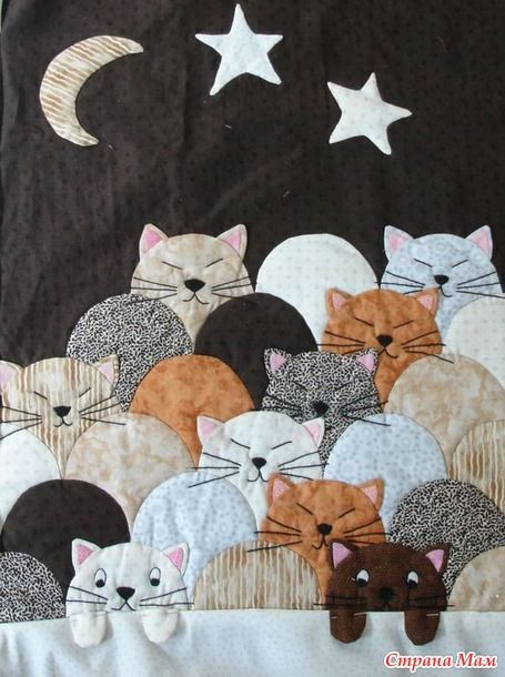 #ClamShell #Felines || Clever Use of a little used Older quilting motif || Необычная техника. Пэчворк
