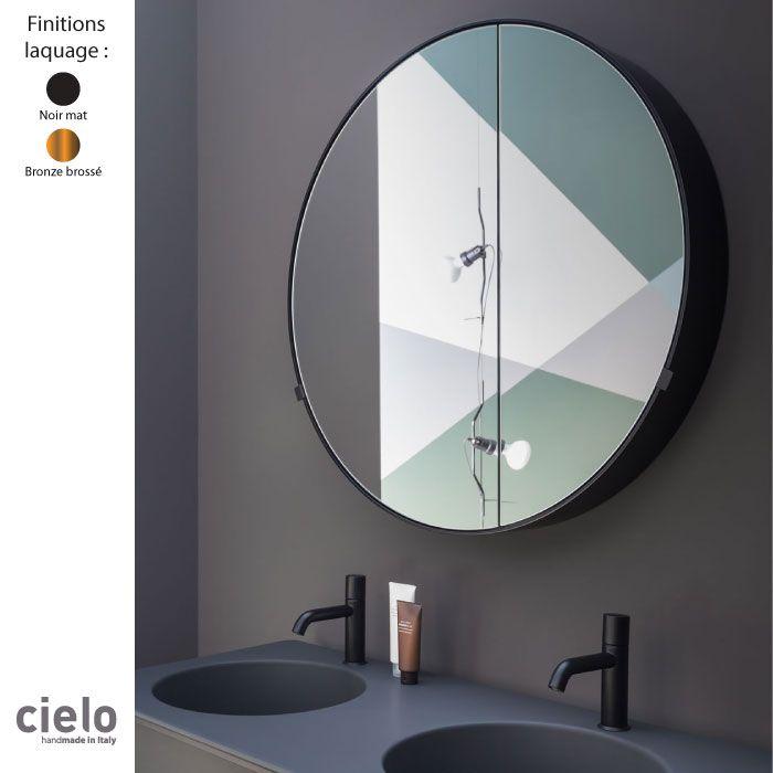 Armoire Miroir Murale Design Ronde 90 Cm Cadre Metal I Catini Cielo Armoire De Toilette Miroir Mural Rond Miroir Mural