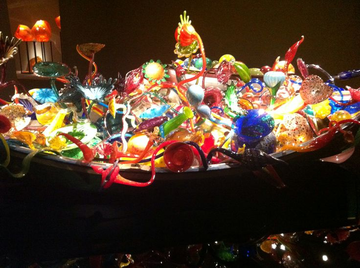 Chihuly glass in rowboat at OKC Art Museum