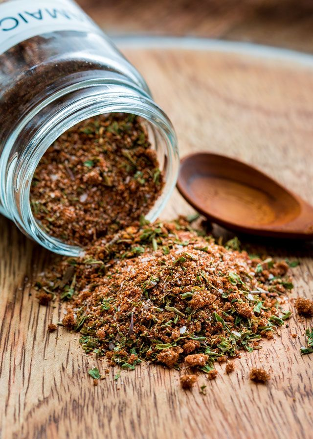 This Jamaican Jerk Seasoning Blend is made right at home. Save your money and make your own with a kick from a blend of spices such as cayenne pepper, cinnamon, nutmeg to name a few.