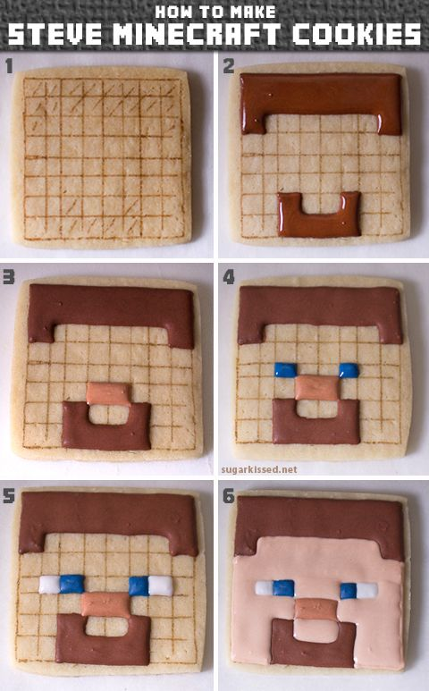 If your kids are Minecraft fans they will love this! Step-by-step directions for making Creeper, Steve, sheep, and pig Minecraft cookies