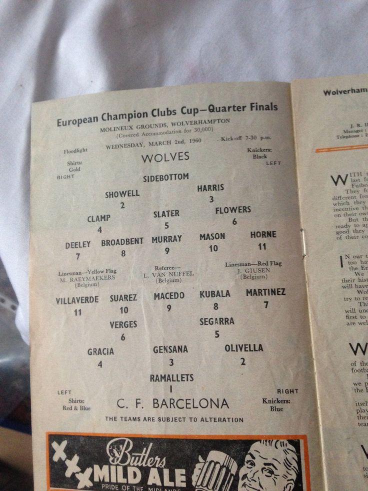 WOLVES V  V FC BARCELONA   EUROPEAN CUP   ORIGINAL PROGRAMME 1960 WOLVERHAMTON in Sports Memorabilia, Football Programmes, European Club Fixtures | eBay!