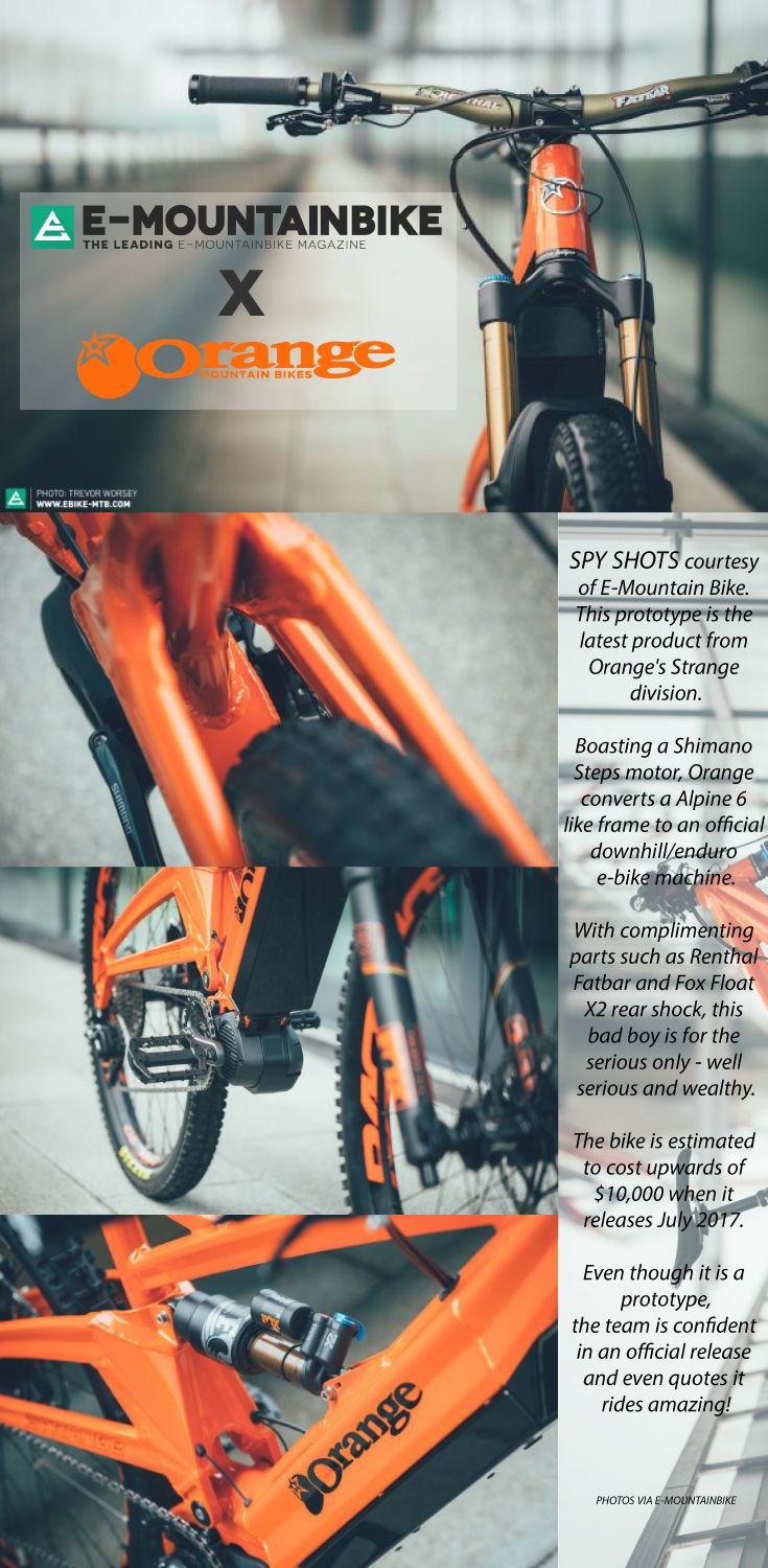 Some info and spy shots on the latest prototype to come out of Orange mountain bikes and Strange design team. Shimano Steps crank drive, Fox Float X2 shock, 160mm travel. The thing is a MTB enduro and downhill beast!