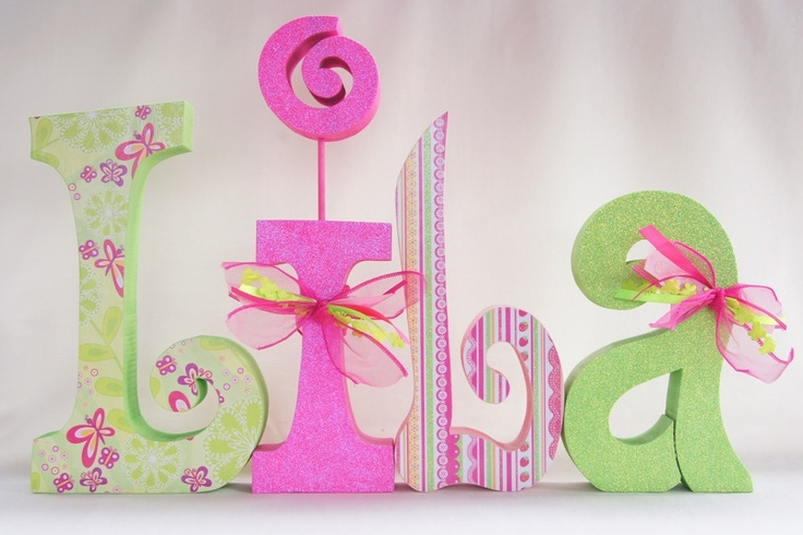 Wooden Letters Nursery Letters Children's Decor by thepatternbag.... Scrapbook paper, paint and glitter, ribbons.