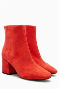 Red Suede Block Heel Ankle Boots