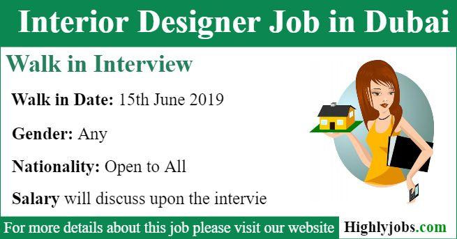 Walk In Interview For Interior Designer Job In Dubai Interior Design Jobs Design Dubai