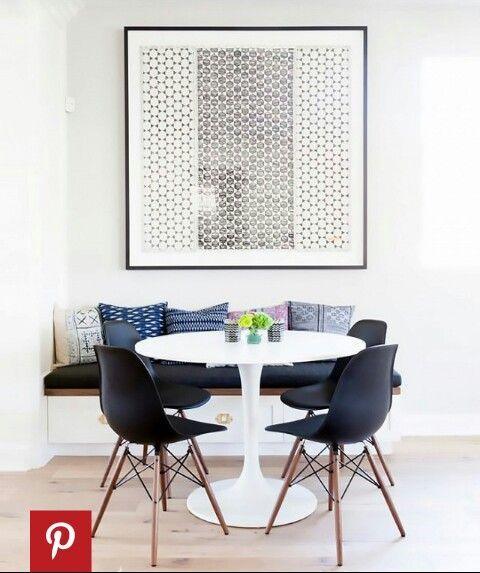 Ikea Docksta table. World Market evie chairs.