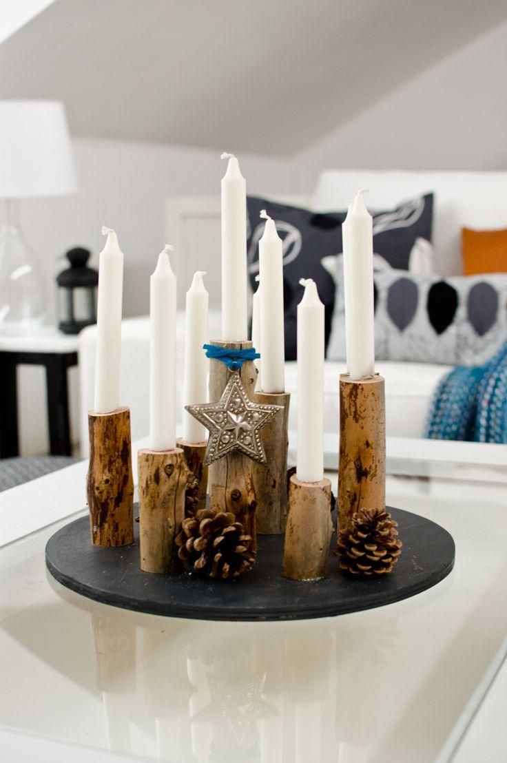 DIY Anleitung für einen günstigen selbstgemachten Kerzenständer aus Holz aus dem Wald im Vintage Look für den Herbst und als Weihnachtsdeko