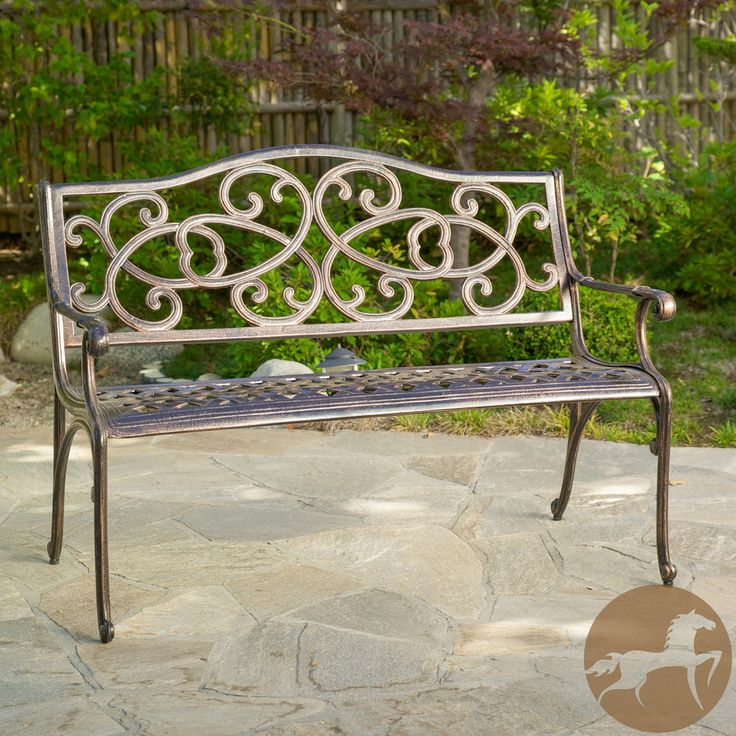 Christopher Knight Home McKinley Cast Aluminum Copper Outdoor Bench |  Outdoor benches, Copper and Home - Christopher Knight Home McKinley Cast Aluminum Copper Outdoor