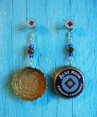 DIY-Painted-BLUE-MOON-Beer-Bottle-Cap-Earrings-Jewelry-Sterling-Silver-Blue-Gld