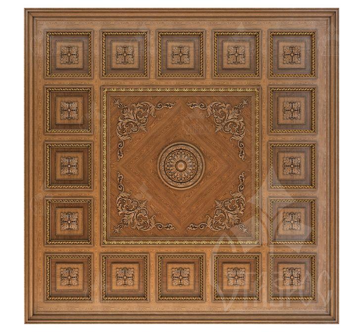 """Дизайн-проект кессонного потолка украшенного резными розетками, погонажем и накладками из каталога компании """"Ставрос"""". Вся коллекция резных потолков:"""