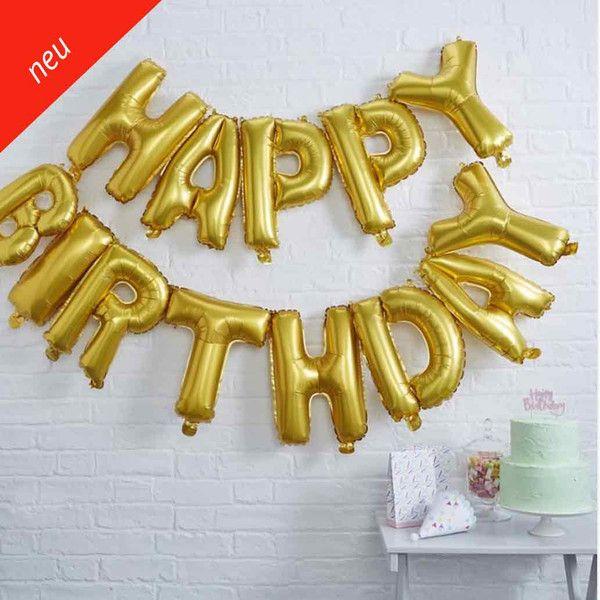"""Ein toller Spaß und Blickfang - ideal für jede Geburtstagsfeier!  Die Geburtstagsgirlande in Gold mit dem Schriftzug """"Happy Birthday"""". Das Set enthält 13 Buchstaben Ballons und ein durchsichtiges Band. Du kannst die Ballons wie eine Girlande aufhängen.  Du brauchst kein Helium, sondern nur eine Ballonpumpe!"""