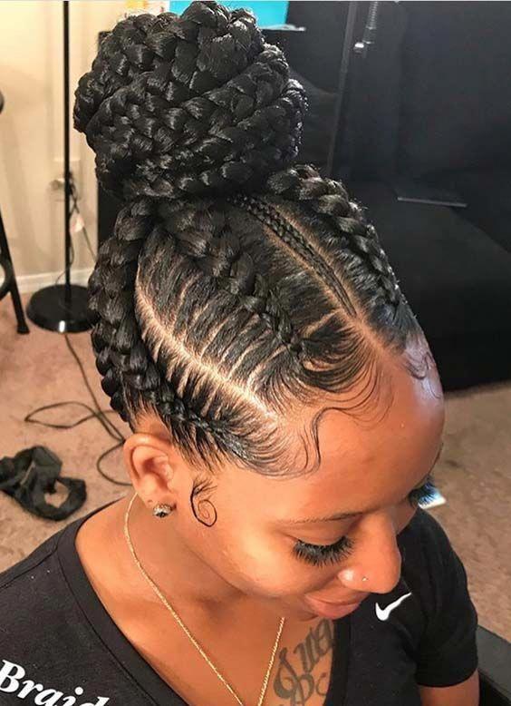 Jumbo Braid Ponytail Simple African Hairstyles Loose