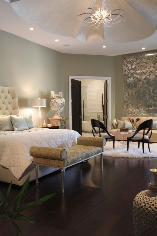 100 Master Bedroom Ideas Will Make You Feel Rich (Lovely! love how there is a sitting area, like a mini living room, and french doors to the bathroom!! n_n)