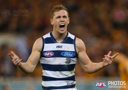 Joel Selwood of the Cats after a goal during the 2013 1st Preliminary Final match between the Hawthorn Hawks and the Geelong Cats at the MCG, Melbourne on September 20, 2013. (Photo: Andrew White/AFL Media)
