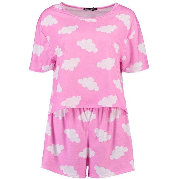 Boohoo Faye Cloud Print T-Shirt and Short Set (£18) ❤ liked on Polyvore featuring intimates, sleepwear, pajamas, short pajama set, short pajamas, short pjs and short sleepwear