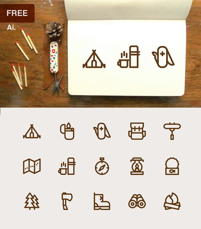 Free Download – Camping Icons