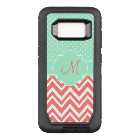 Monogram Coral Chevron with Mint Polka Dot Pattern OtterBox Defender Samsung Galaxy S8 Case #polkadot #pattern #samsung #protective #cases