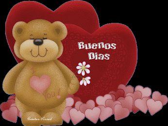 Ver Imágenes de un lindo osito de color marrón con movimiento acompañado de varios corazones con la frase: Buenos Días